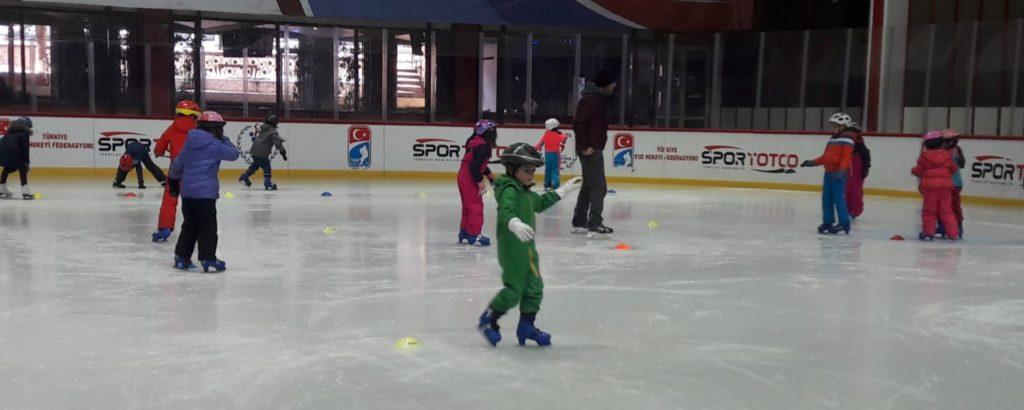 Grades 1 and 2 at the ice rink.